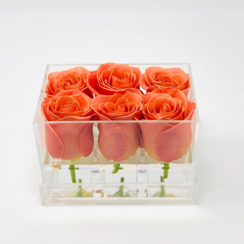 Clear Modern Rose Box with Forever Roses Long lasting roses that last for years in orange roses