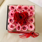 Clear Modern Rose Box with Forever Roses Long lasting roses that last for years with pink roses for Valentine's Day and heart accent
