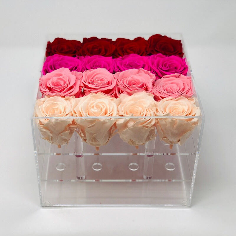 Modern Rose Box with preserved roses that last for years with an ombre mix of red roses, hot pink roses, ivory white roses and pink roses