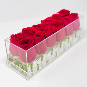 Clear Modern Rose Box with Forever Roses Long lasting roses that last for years with hot pink roses for Valentine's Day