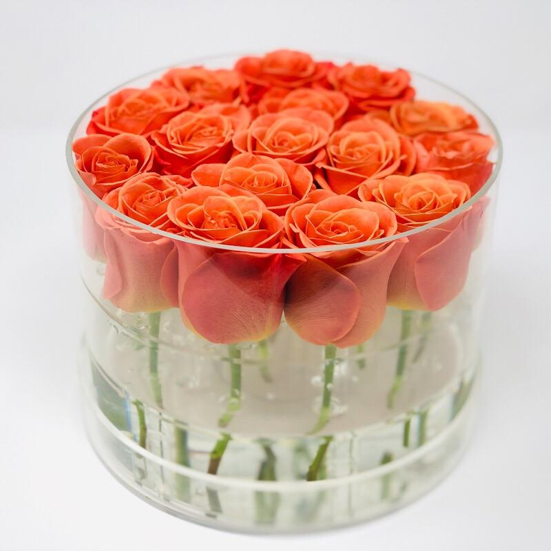 Modern Rose Box with Preserved long last lasting roses that last for years with orange roses