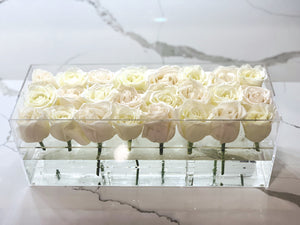 Modern rose box containing two dozen preserved long lasting roses in ivory or white roses