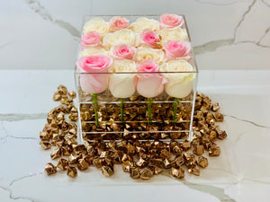 Modern Rose Box with preserved roses that last for years in pink roses and ivory white roses