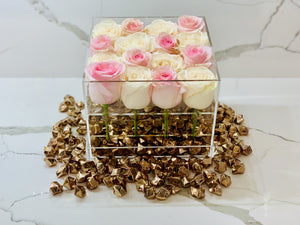 Modern Rose Box with preserved roses that last for years with an ombre mix of ivory roses and pink roses