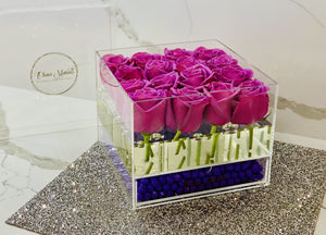 Modern Rose Box with preserved roses that last for years in lavender roses and jewelry drawer