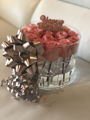 Modern Rose Box with Preserved long last lasting roses that last for years with pink Roses