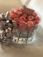 Modern Rose Box with Preserved long last lasting roses that last for years with light pink roses