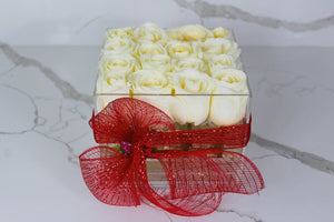Modern Rose Box with preserved roses that last for years with ivory white roses