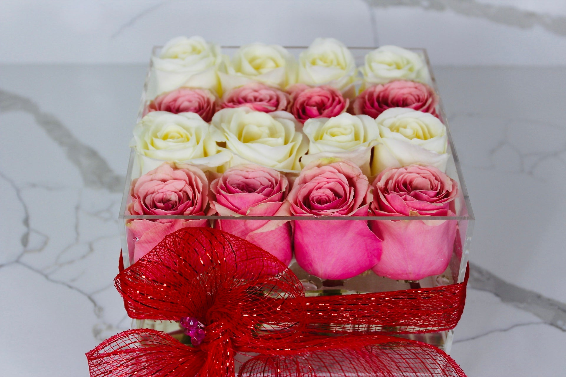 Modern Rose Box with preserved roses that last for years with a mix of ivory white roses and pink roses