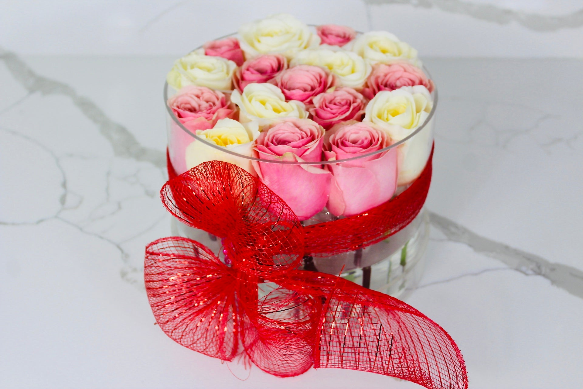 Modern Rose Box with Preserved long last lasting roses that last for years in ivory Roses and Pink Roses