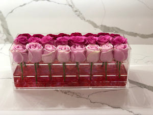 Modern rose box containing two dozen preserved long lasting roses in red roses, light pink roses and hot pink roses
