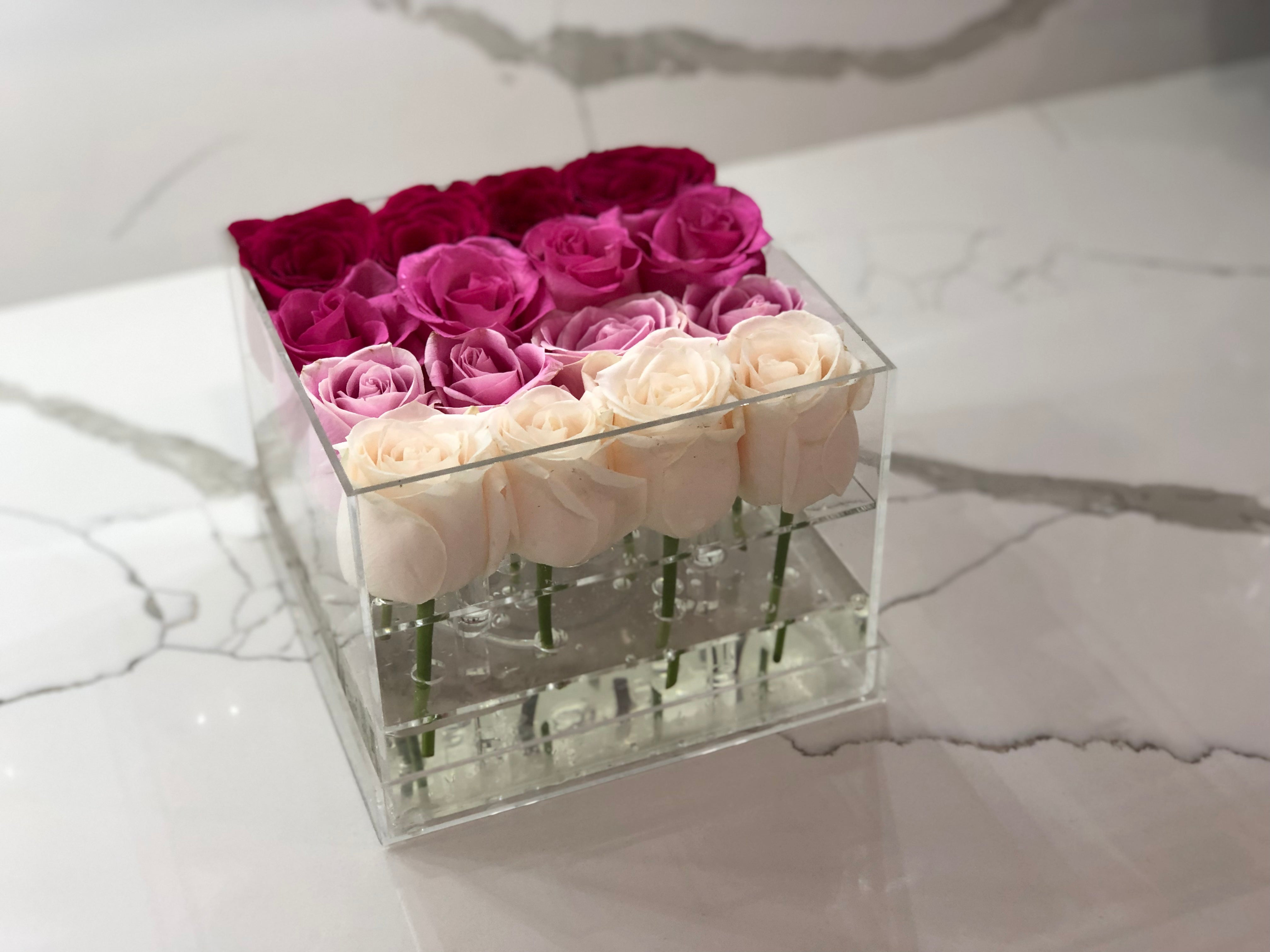 Modern Rose Box with preserved roses that last for years with an ombre mix of red roses and pink roses, lavender roses and ivory roses