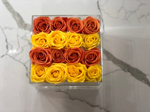 Modern Rose Box with preserved roses that last for years with a mix of yellow roses and orange roses