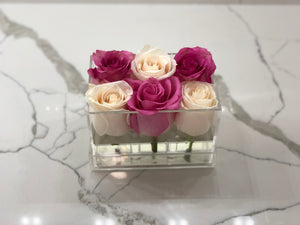 Clear Modern Rose Box with Forever Roses Long lasting roses that last for years in pink and white roses
