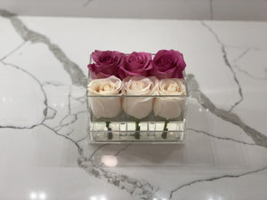 Clear Modern Rose Box with Forever Roses Long lasting roses that last for years in white roses and lavender roses