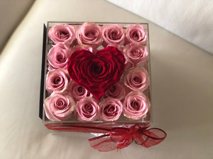 Modern Rose Box with preserved roses that last for years in pink roses and large preserved red petal heart