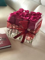 Modern Rose Box with preserved roses that last for years with hot pink roses