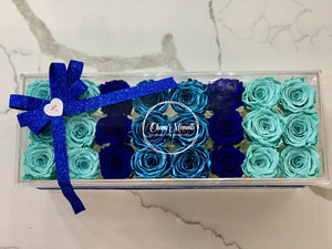 Modern rose box containing two dozen preserved long lasting roses in blue roses, navy blue roses and metallic blue roses