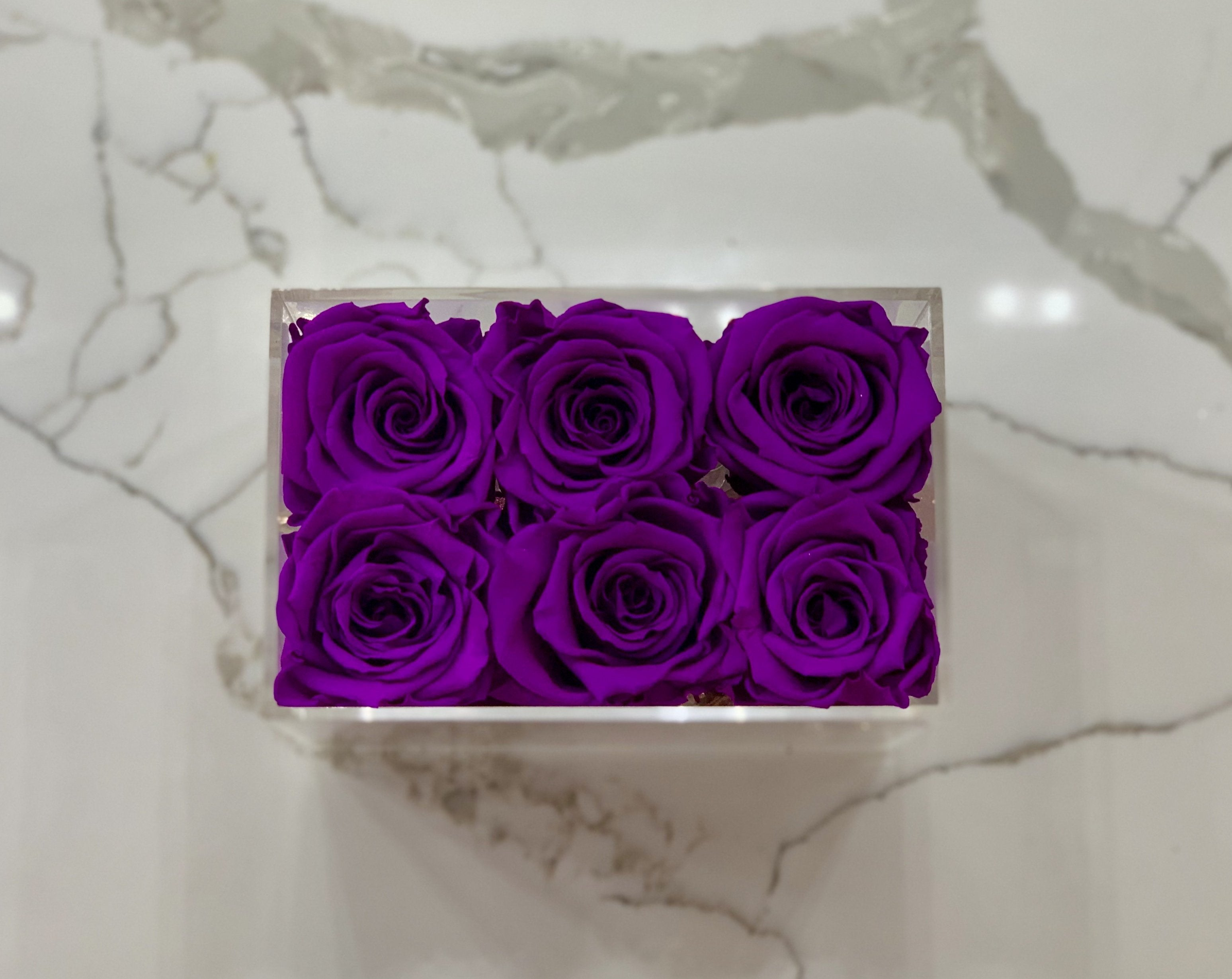 Clear Modern Rose Box with Forever Roses Long lasting roses that last for years with purple roses