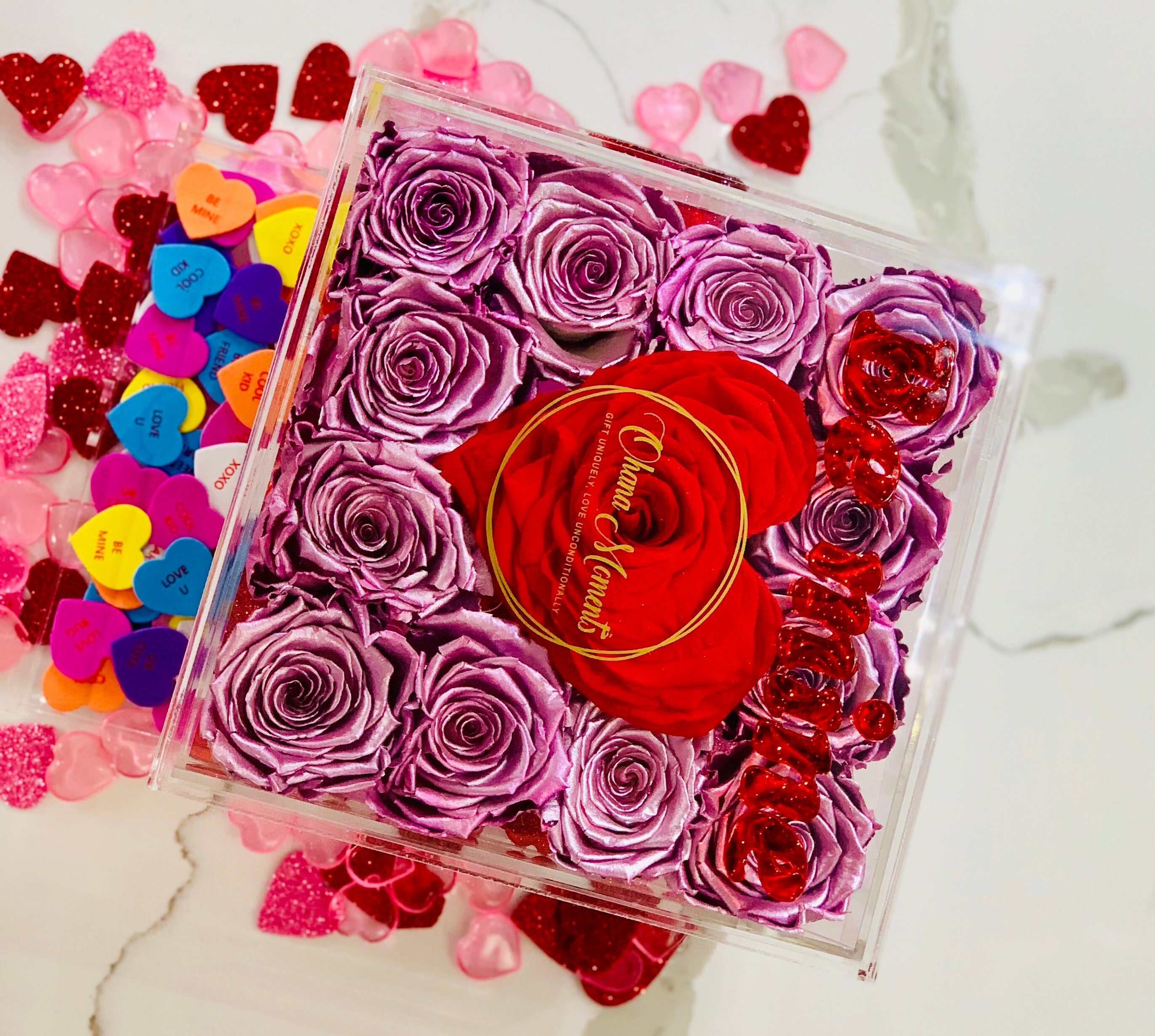 Modern Rose Box with preserved roses that last for years with metallic pink roses and accented with a red petal heart and jewelry drawer