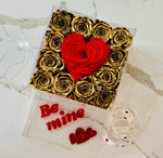 Modern Rose Box with preserved roses that last for years with metallic gold roses and accented with a red petal heart and jewelry drawer