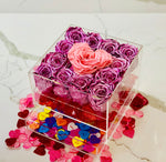 Modern Rose Box with preserved roses that last for years with metallic pink roses and accented with a pink petal heart and jewelry drawer