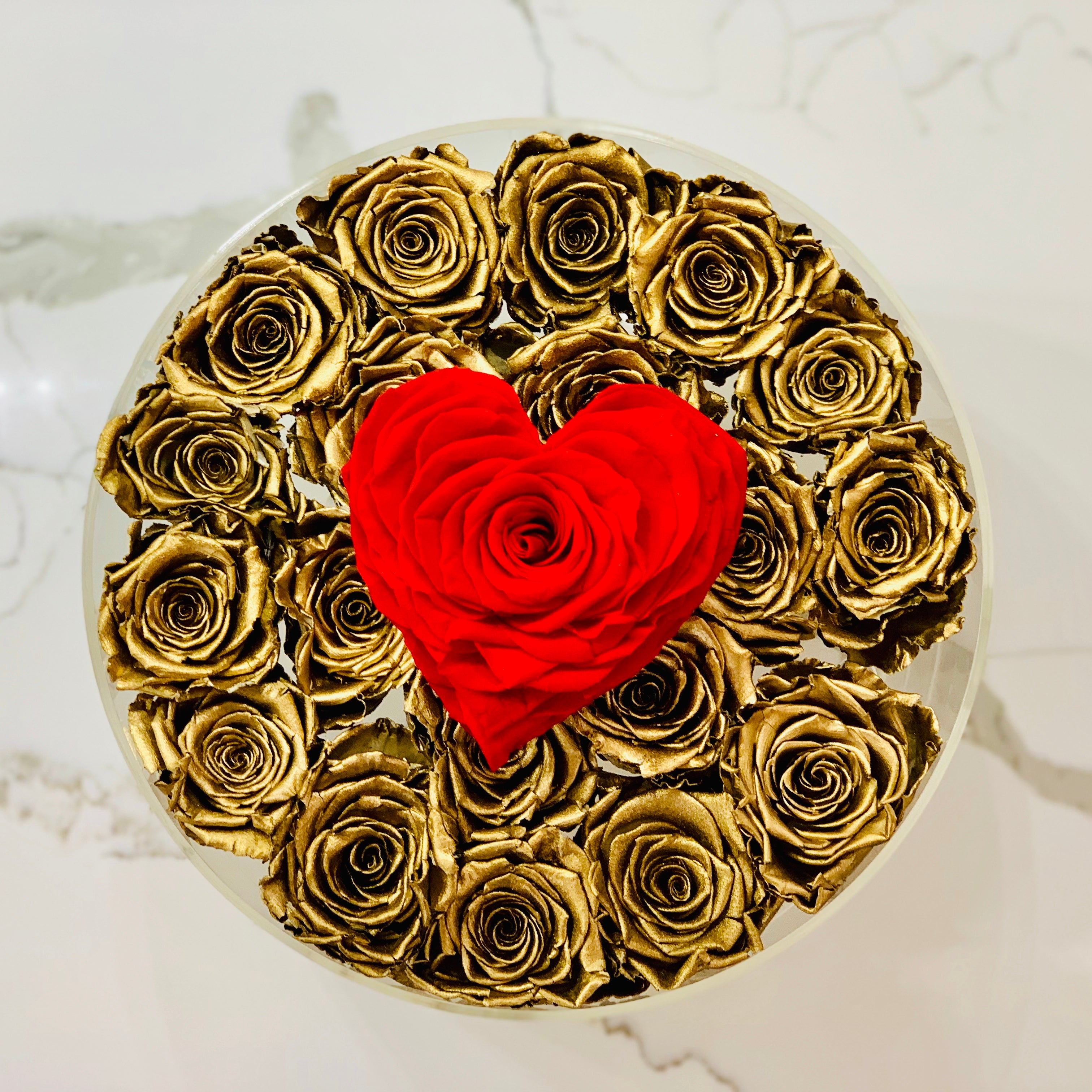Modern Rose Box with preserved roses that last for years with metallic gold roses and large red petal heart