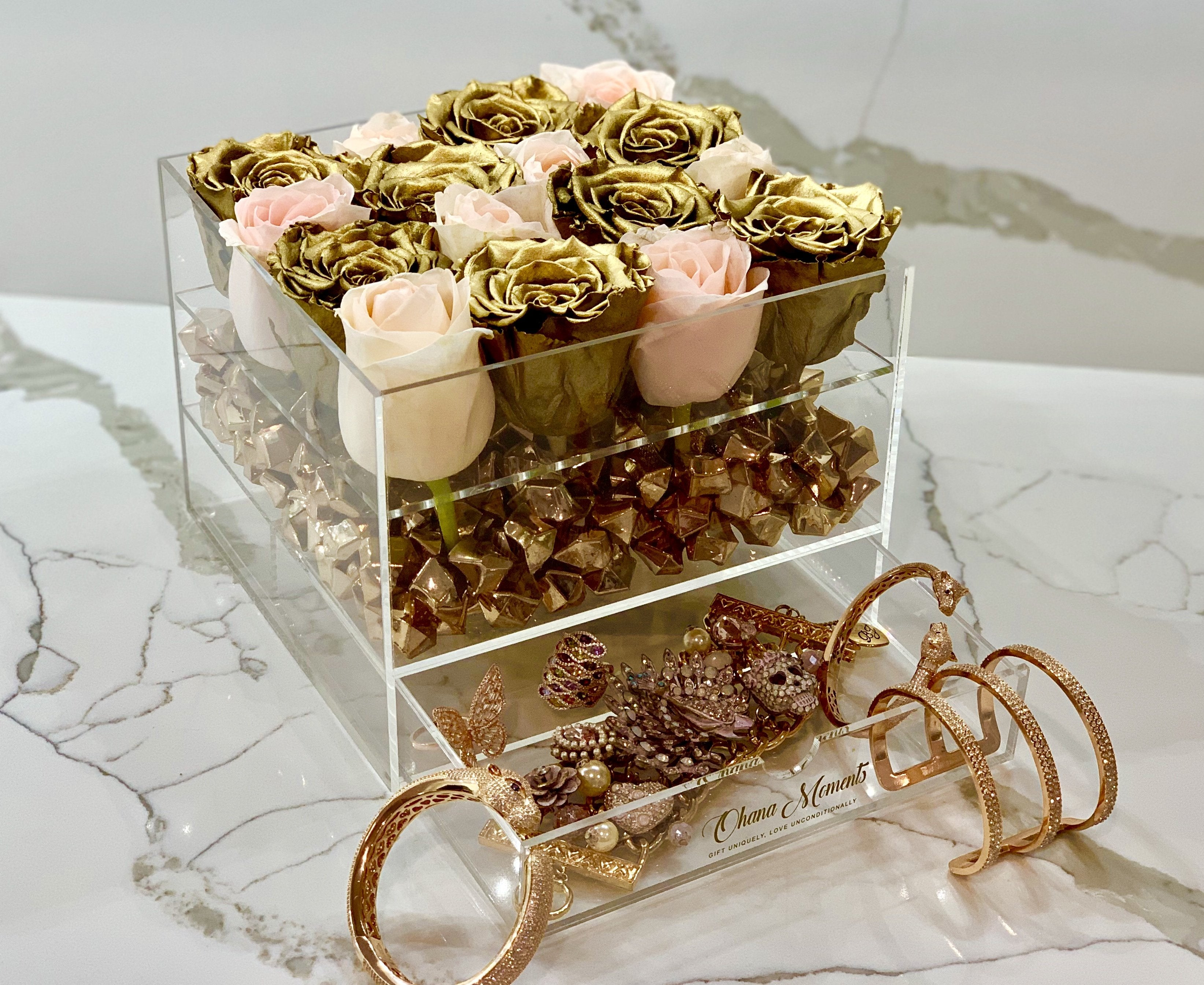 Modern Rose Box with preserved roses that last for years with a mix of peach roses and metallic gold roses