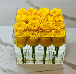 Modern Rose Box with preserved roses that last for years with yellow roses