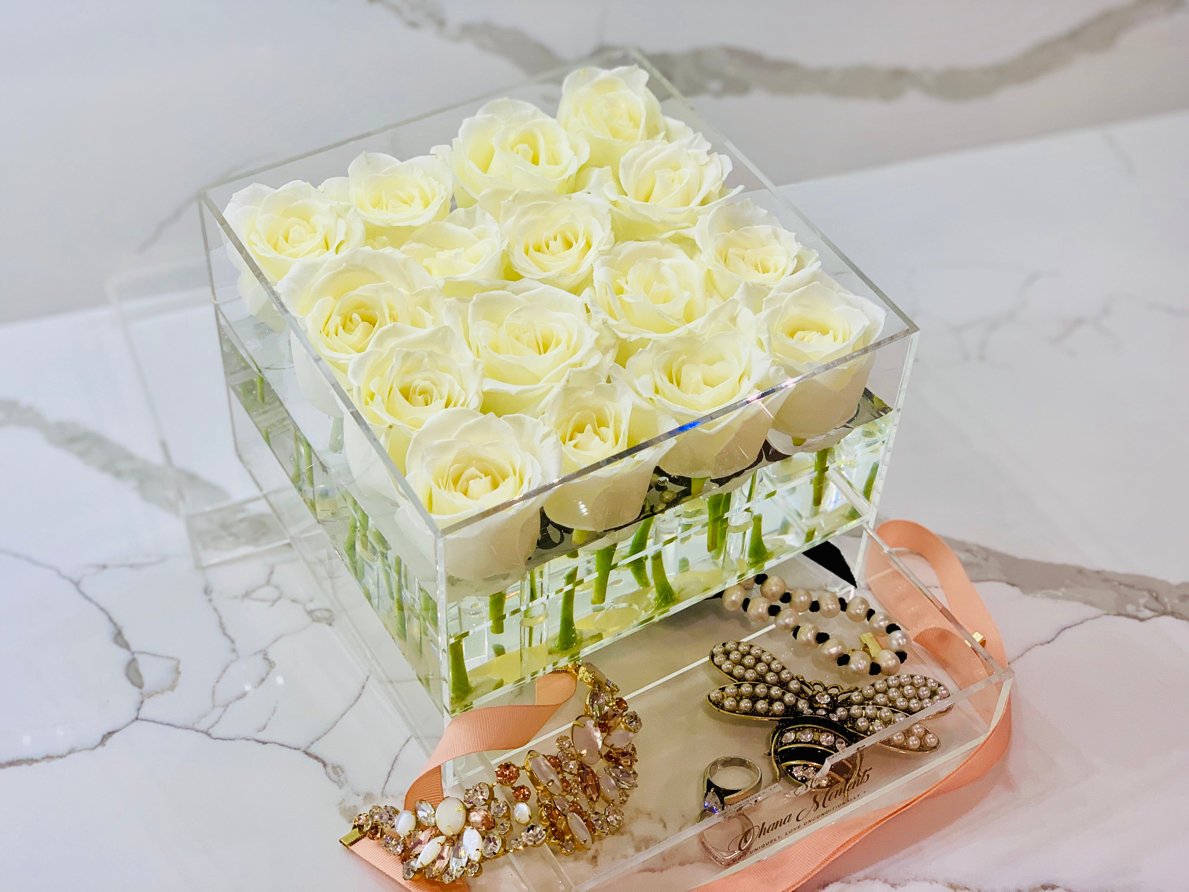 Modern Rose Box with preserved roses that last for years with ivory roses and jewelry drawer