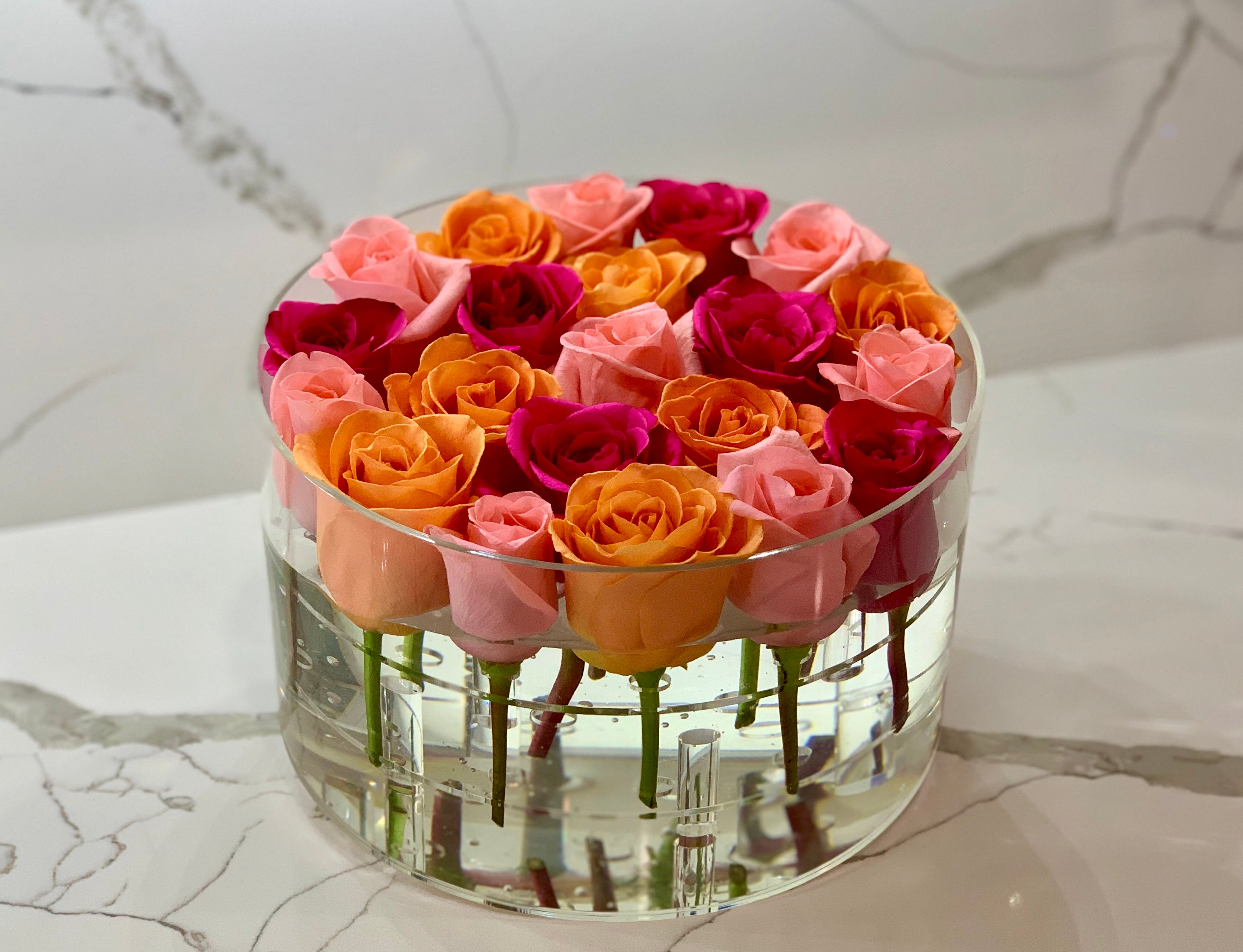 Modern Rose Box with Preserved long last lasting roses that last for years in Hot pink Roses, orange roses and Pink Roses
