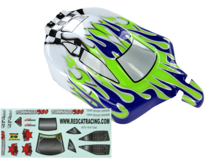 Redcat Racing 66002 1/10 Buggy Body Purple, Green, and White Flame | Redcat Racing
