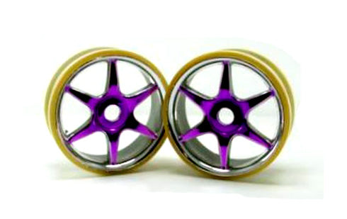 Redcat Racing Chrome & purple 6 spoke wheels (2pcs)(plastic) 81036pp | RedcatRacing.Toys