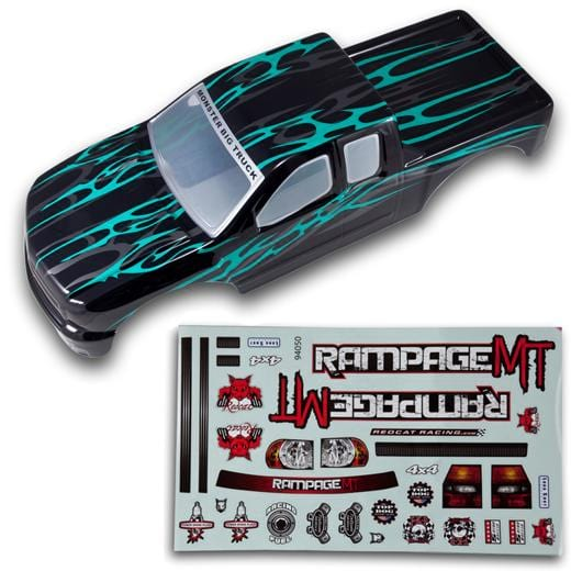 Redcat Racing 50910 1/5 Truck Body, Black with Green Flames 50910 - RedcatRacing.Toys