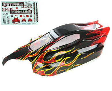 Redcat Racing Rampage XB-E Body, Black with Red Flame ATV077-R | Redcat Racing