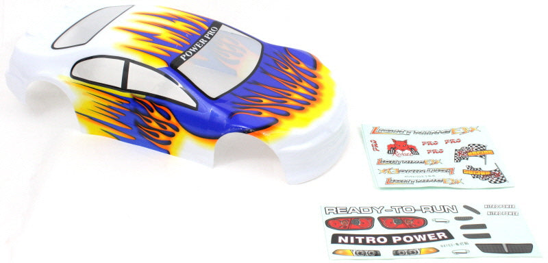 Redcat Racing 1/10 200mm Onroad Car Body White Orange and Blue 01018 | Redcat Racing