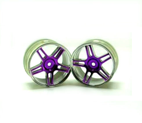 Redcat Racing 02228pp Chrome 5 spoke split spoke purple anodized wheels 2 pcs | RedcatRacing.Toys