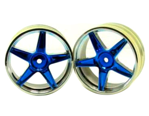 Redcat Racing 06008pb Chrome front 5 spoke blue anodized wheels 2 pcs  06008pb | RedcatRacing.Toys