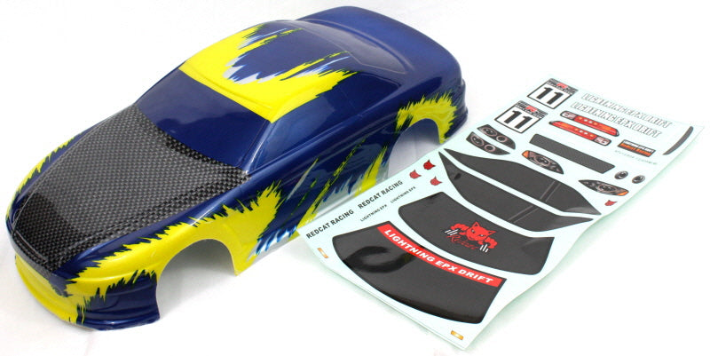 Redcat Racing 12305 1/10 Road Car Body, Blue and Yellow