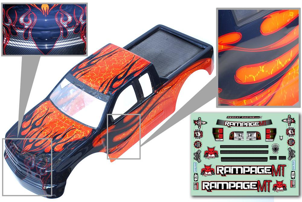Redcat Racing  14050-O 1/5 Truck Body, Orange with black flames  14050-O - RedcatRacing.Toys