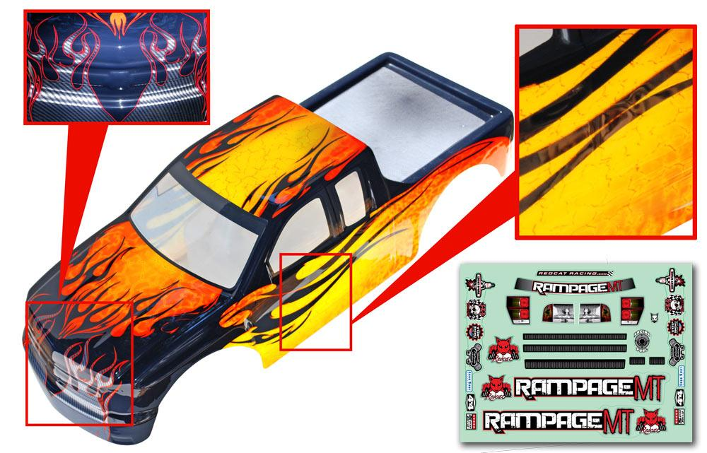 Redcat Racing 14050-Y 1/5 Truck Body, yellow with black flames  14050-Y | RedcatRacing.Toys