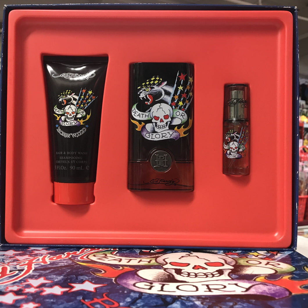Ed Hardy Born Wild By Christian Audigier 3-pcs Men Set, 1.7 Oz + 0.25 + 3.0 Body Wash