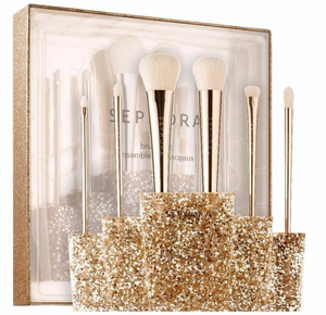 Sephora Collection Glitter Happy Pro Brush Set 6 Brushes & Stand