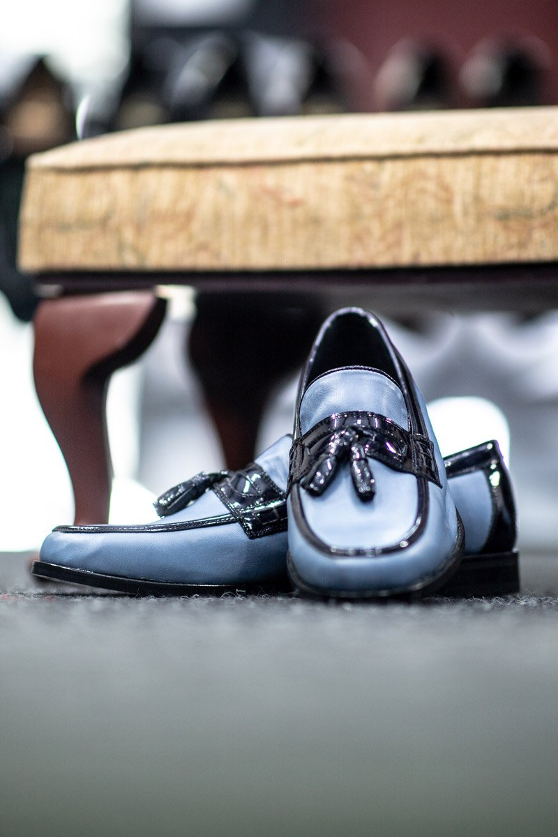 Hand Made Mr Guild 100% Leather Loafers with Tassels - Baby Blue with Dark Blue Tassels