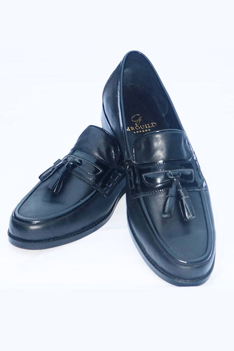 Hand Made Mr Guild 100% Leather Loafers with Tassels - Black