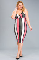 Coral Striped Bodycon Dress