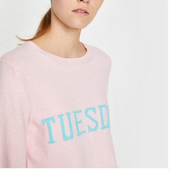 TOYOUTH LONG SLEEVE FINE KNIT JUMPER IN DAYS OF THE WEEK - boopdo