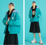 TOYOUTH COLOR HOODED PUFFER JACKET IN LETTERS   PRINT FRONT 8830842000a BLACK BLUE TURQUOISE