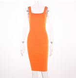 SHEMODA FRENCH URBAN STYLE OPEN CHEST STRAP DRESS IN ORANGE