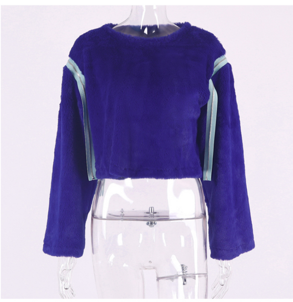 SHEFAME LILAC FAUX FUR TRUMPET DETACHABLE SLEEVES SWEATER